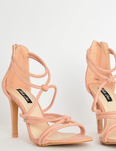 Γυναικεία πέδιλα καστόρ με laces ψηλοτάκουνα ροζ L6117Q
