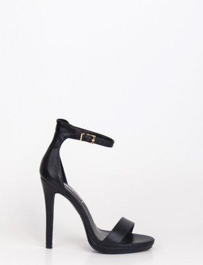 Γυναικεία μαύρα πέδιλα με λεπτό τακούνι BLJY1279
