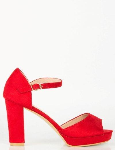 Γυναικεία κόκκινα σουέντ πέδιλα χοντρό τακούνι φιάπα LBS6583