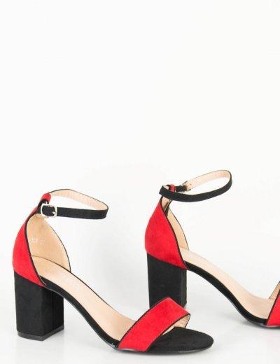 Γυναικεία μαύρα πέδιλα κόκκινη διχρωμία μπαρέτα λουράκι QL108Y