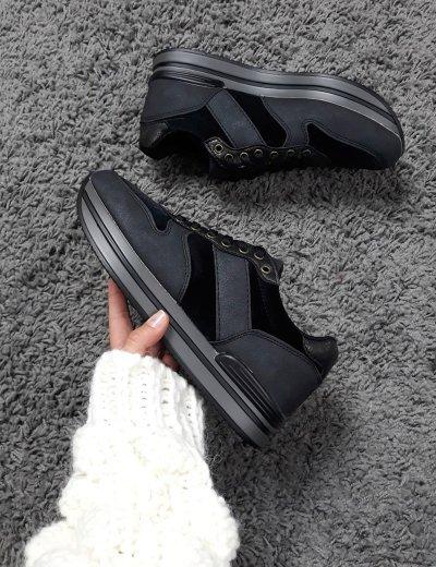 Γυναικεία μαύρα sneakers σουέντ glitter JN2202
