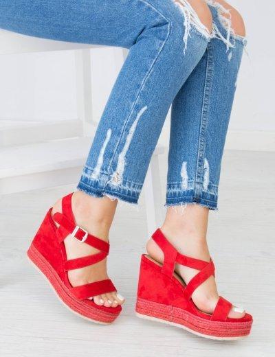 Γυναικείες κόκκινες σουέντ πλατφόρμες χιαστί λουριά MM5026F