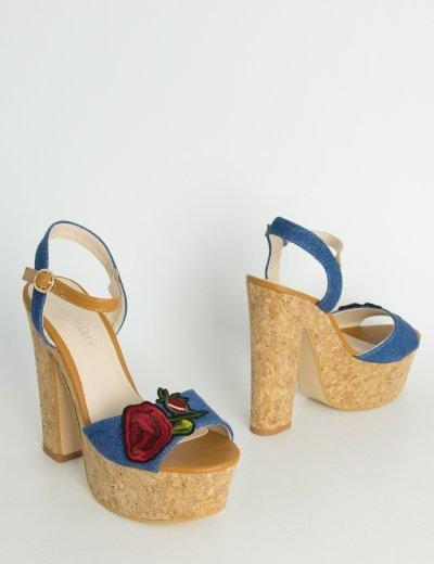 Γυναικεία πέδιλα με χοντρό τακούνι φελό  μπλε 6881
