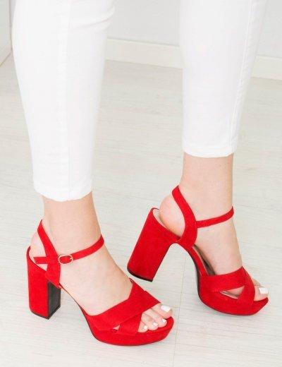 Γυναικεία κόκκινα σουέντ πέδιλα φιάπα χιαστί λουριά B8986K