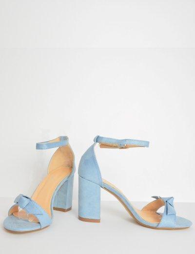 Γυναικείο χαμηλό πέδιλο σουέντ με φιόγκο μπλε L3183C