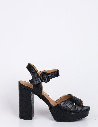 Γυναικεία μαύρα κροκό πέδιλα με χοντρό τακούνι BDG1287