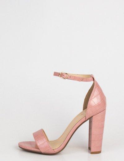 Γυναικεία ροζ κροκό πέδιλα με λεπτό λουράκι J7621W