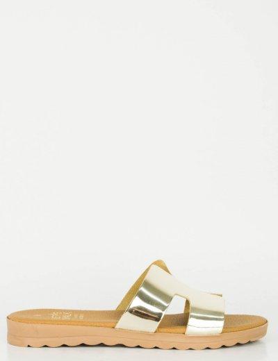 Γυναικεία χρυσά Flat σανδάλια 162162