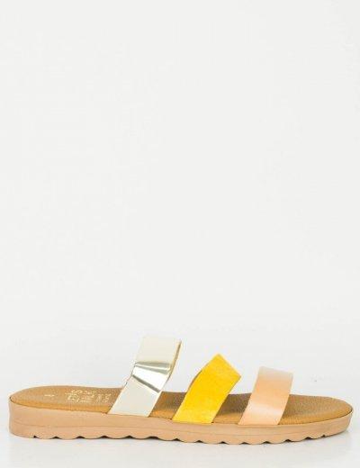 Γυναικεία χρυσό ώχρα Flat πέδιλα με λουράκια Glitter 120120G