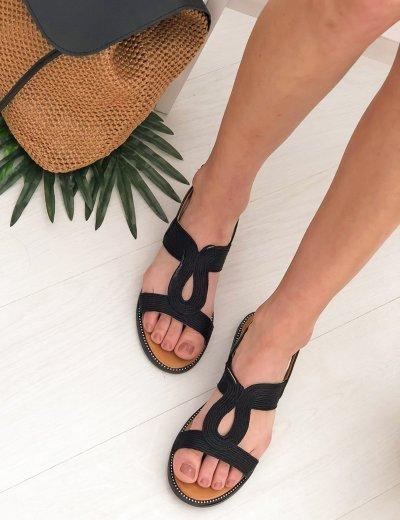 Γυναικεία μαύρα flat σανδάλια με σχέδιο PA371P