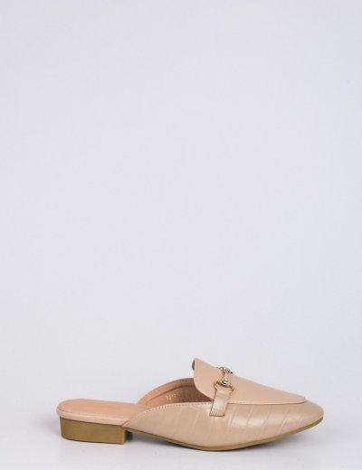 Γυναικεία nude Flat Mules κροκό με αλυσίδα T217