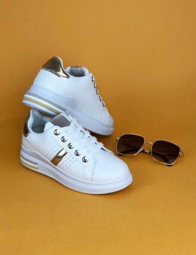 Γυναικεία λευκό χρυσό Sneakers με κορδόνια και ρίγα BO227G