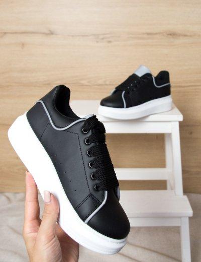Γυναικεία μαύρα δίσολα Sneakers γκρι λεπτομέρειες M632L