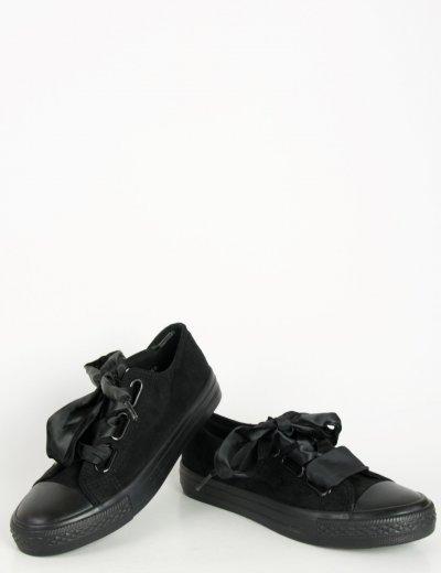 Γυναικεία sneakers suede με σατέν κορδέλα μαύρα AD769
