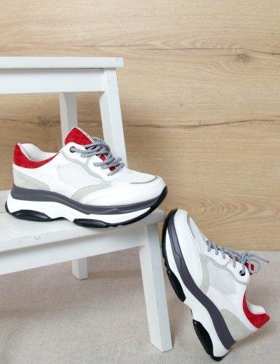 Γυναικεία λευκά αθλητικά δίσολα Sneakers σχέδια A575L
