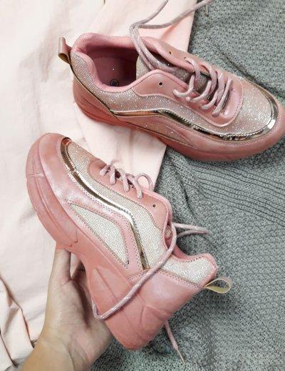 Γυναικεία ροζ αθλητικά Sneakers παπούτσια με glitter J2H