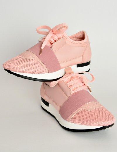Γυναικεία Sneakers αθλητικά κάλτσα ροζ λάστιχο AD818C
