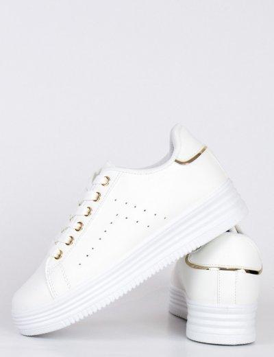 Γυναικεία λευκά Sneakers με χρυσές λεπτομέριες BK52