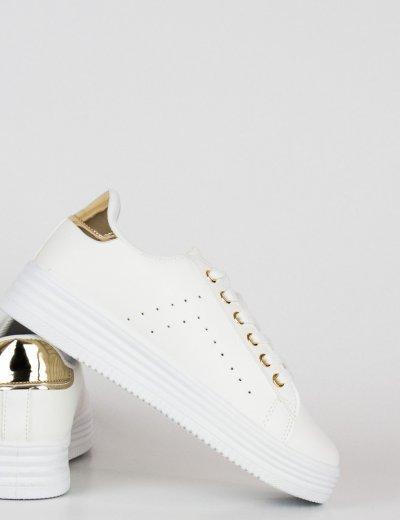 Γυναικεία λευκά χρυσό Sneakers με κορδόνια BK52L