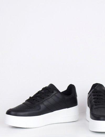 Γυναικεία μαύρα Casual Sneakers με κορδόνια JZ8224L