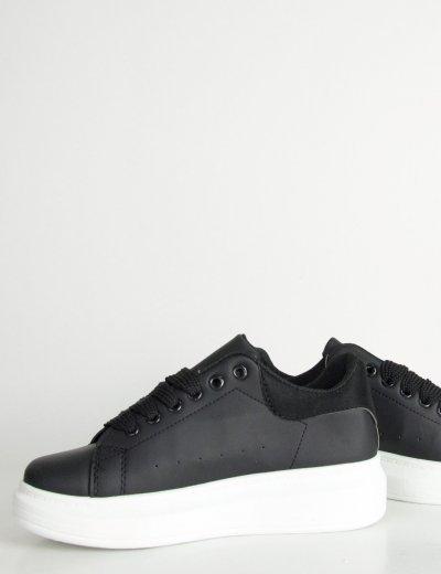 Γυναικεία μαύρα δίσολα Sneakers λευκή σόλα M623R