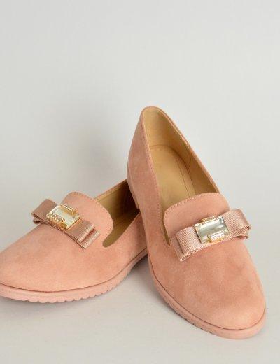 Γυναικεία χαμηλά Slippers ροζ σουέντ με φιογκάκι W125G