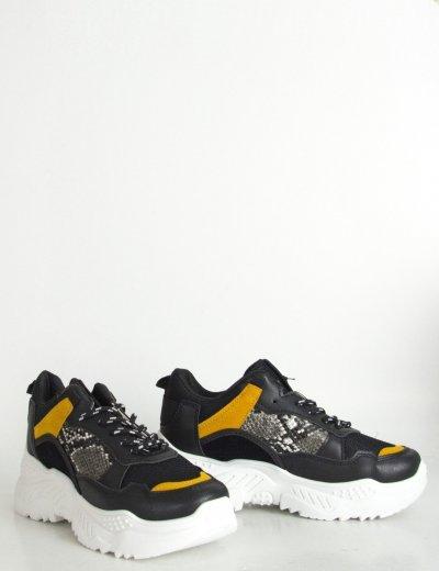 Γυναικεία μαύρα Sneakers με τριχρωμία και τρακτερωτή σόλα M3009L