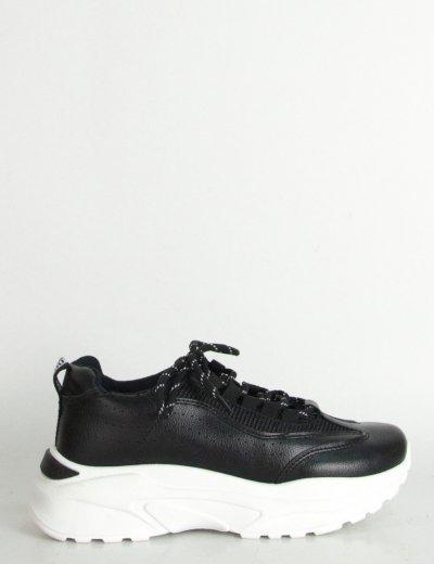 Γυναικεία μαύρα δίσολα Sneakers δερματίνη κορδόνια HF922J