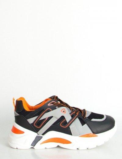 Γυναικεία μαύρα δίσολα Sneakers με διπλά κορδόνια 03102