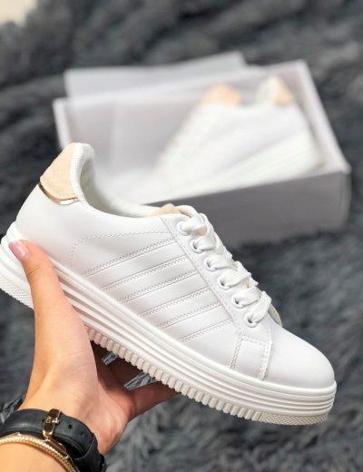 Γυναικεία λευκά Casual Sneakers με μπεζ διχρωμία και κορδόνια 18-9