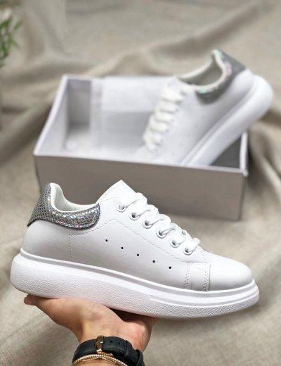 Γυναικεία λευκά γκρι Sneakers δίσολα με διχρωμία BH004