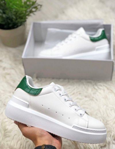 Γυναικεία πράσινα Sneakers κροκό με διχρωμία GB009P