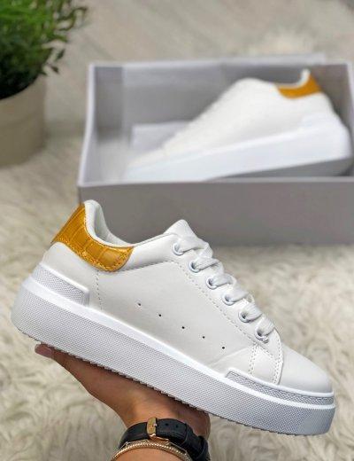 Γυναικεία κίτρινα Sneakers κροκό με διχρωμία GB009