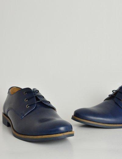 Ανδρικά δερμάτινα παπούτσια Nice Step μπλε δετά 791