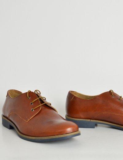 Ανδρικά δερμάτινα παπούτσια Nice Step ταμπά δετά 791C