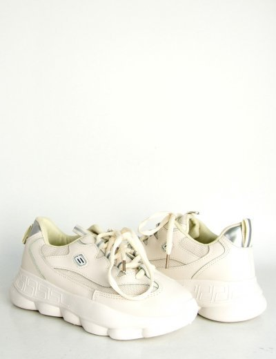 Γυναικεία εκρού δίσολα Sneakers δερματίνη κορδόνια DKB1102Q