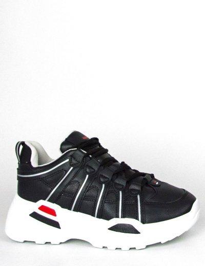 Γυναικεία μαύρα Sneakers δερματίνη λευκή σόλα BO249