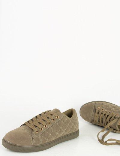 Γυναικεία χακί σουέντ χαμηλά Sneakers καπιτονέ JN2205