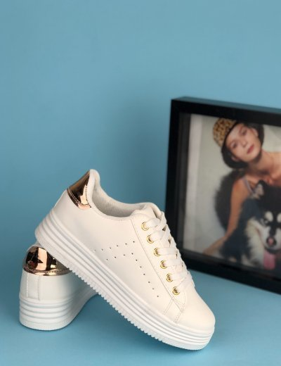 Γυναικεία λευκά Sneakers με σαμπανιζέ λεπτομέριες BK52R
