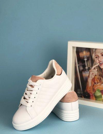 Γυναικεία λευκά Casual Sneakers με ροζ διχρωμία και κορδόνια 18-9L