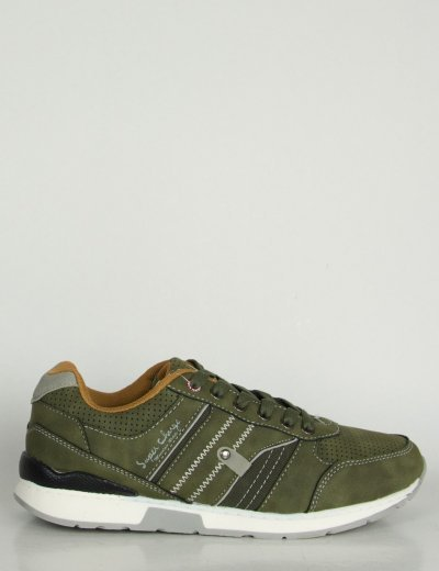 Ανδρικά χακί Sneakers με κορδόνια και διχρωμία BL009