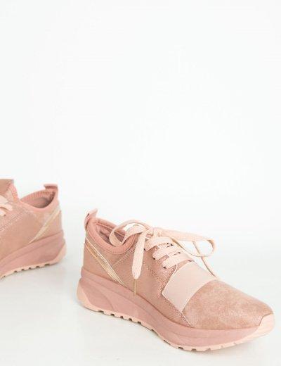 Γυναικεία ροζ slip on sneakers σουέντ XY28