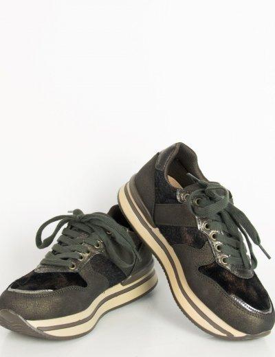 Γυναικεία χακί sneakers σουέντ glitter JN2202F
