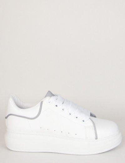 Γυναικεία λευκά δίσολα Sneakers γκρι λεπτομέρειες M632