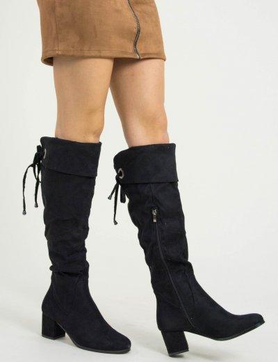 Γυναικείες μαύρες στρογγυλές μπότες Over the Knee HXH053