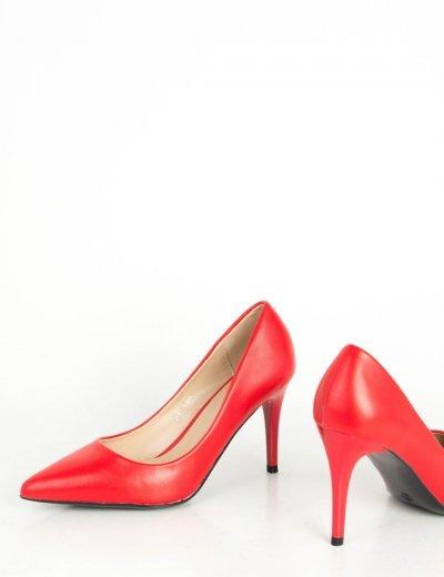 Γυναικείες κόκκινες μυτερές γόβες δερματίνη στιλέτο B81