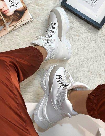 Γυναικεία λευκά Sneakers μποτάκια με κορδόνια WY3349